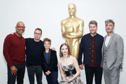 (L-R) AMPAS New York director of programs and membership Patrick Harrison, actors Sam Rockwell, Roman Griffin Davis, Thomasin McKenzie, producer Carthew Neal and writer, director, producer Taika Waititi attend The Academy of Motion Pictures Arts and Sciences official Academy screening of JoJo Rabbit at the MoMA Celeste Bartos Theater on October 17, 2019 in New York City.