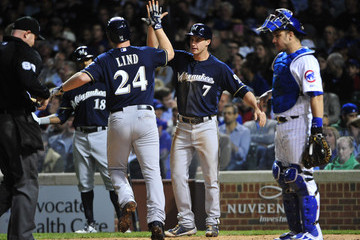Adam Lind Milwaukee Brewers v Chicago Cubs