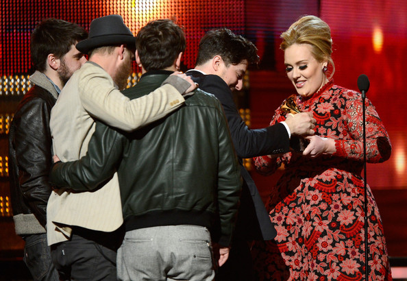 The 55th Annual GRAMMY Awards - Show [event,interaction,fun,photography,performance,winston marshall,adele,ted dwane,marcus mumford,award,l-r,mumford sons,show,55th annual grammy awards,album of the year]