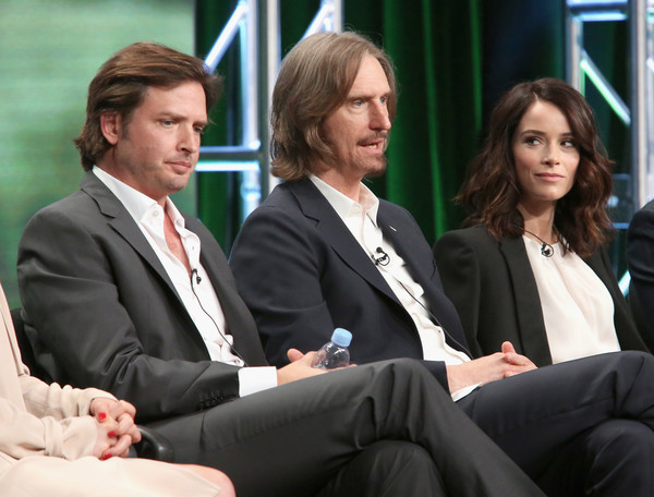 SundanceTV TCA Panel for 'Rectify' [event,white-collar worker,businessperson,conversation,management,job,business,suit,employment,collaboration,aden young,abigail spencer,ray mckinnon,writer,creator,l-r,portion,sundancetv tca panel for ``rectify,executive producer,panel discussion]