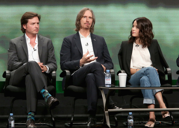 SundanceTV TCA Panel for 'Rectify' [conversation,event,human,white-collar worker,adaptation,sitting,television program,interview,management,tourism,aden young,abigail spencer,ray mckinnon,writer,creator,l-r,portion,sundancetv tca panel for ``rectify,executive producer,panel discussion]