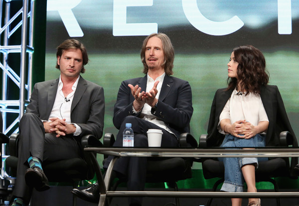 SundanceTV TCA Panel for 'Rectify' [event,conversation,television program,white-collar worker,collaboration,business,team,media,newscaster,employment,aden young,abigail spencer,ray mckinnon,writer,creator,l-r,portion,sundancetv tca panel for ``rectify,executive producer,panel discussion]