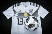 Image has been digitally enhanced.) A customized home jersey of Thomas Mueller for the world cup match of Germany against Sweden is seen during a visit of the Adidas production site on June 13, 2018 in  Scheinfeld, Germany.