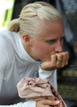 Carolina Kluft of Sweden receives medical treatment after withdrawing from the Womens Long Jump during the IAAF Diamond League at Icahn Stadium on June 12, 2010 in New York City.
