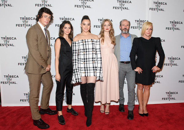 'Dickinson' - 2019 Tribeca TV Festival [red carpet,carpet,fashion,event,premiere,dress,flooring,little black dress,fashion design,style,adrian enscoe,anna baryshnikov,toby huss,hailee steinfeld,ella hunt,jane krakowski,l-r,dickinson,tribeca tv festival,screening]