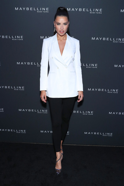 Maybelline New York Fashion Week Party September 2019 [clothing,white,suit,formal wear,fashion,pantsuit,outerwear,tuxedo,blazer,footwear,adriana lima,new york city,maybelline new york fashion week,party,party,adriana lima,new york fashion week,new york,maybelline,fashion week,fashion,model,victorias secret]