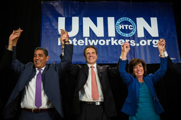 Adriano Espaillat Governor Cuomo Attends A Get Out The Vote Rally In Times Square Ahead Of State's Primary