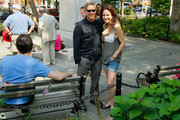 Andy Ostroy, widower of Adrienne Shelly and executive director of the Adrienne Shelly Foundation  with actress Mary Louise Parker at the Adrienne Shelly Memorial Garden dedication ceremony at Abingdon Square Park on August 3, 2009 in New York City.