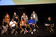 (Back row) Emily Altman, Mark Levin, Jennifer Flackett, Andrew Goldberg, (front row) Jenny Slate, Jason Mantzoukas, Jessi Klein, Nick Kroll and Andy Richter speak onstage at the Netflix Adult Animation Q&A and Reception on April 20, 2019 in Hollywood, California.