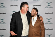 William Baldwin (L) and Daniel Stessen attends Adult Swim's DREAM CORP LLC Season 2 Premiere at Ace Hotel on October 17, 2018 in Los Angeles, California.