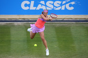 Sabine Lisicki of Germany in action against Magdalena Rybarikova of Slovakia on day four of the Aegon Classic at Edgbaston Priory Club on June 18, 2015 in Birmingham, England.