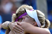 Angelique Kerber of Germany and Sabine Lisicki of Germany embrace after their semi final match on day six of the Aegon Classic at Edgbaston Priory Club on June 20, 2015 in Birmingham, England.