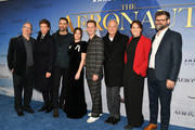 "(L-R) Ted Hope, Eddie Redmayne, Todd Lieberman, Felicity Jones, Tom Harper, David Hoberman, Julie Rapaport and Jules Claassen attend ""The Aeronauts"" New York Premiere at SVA Theater on December 04, 2019 in New York City."