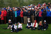 United States Vice-Captains Steve Stricker and Andy North, Bubba Watson of the United States and wife Angie Watson and Webb Simpson of the United States and wife Dowd Simpson watch the Afternoon Foursomes of the 2014 Ryder Cup on the PGA Centenary course at the Gleneagles Hotel on September 26, 2014 in Auchterarder, Scotland.