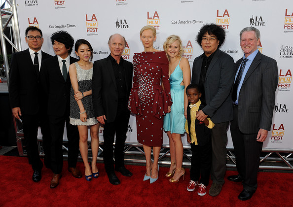 'Snowpiercer' Premiere in LA — Part 2 [snowpiercer,event,carpet,red carpet,premiere,flooring,suit,award,red carpet,dooho choi,kelly masterson,joon-ho bong,actors,l-r,los angeles film festival,opening night premiere,premiere]
