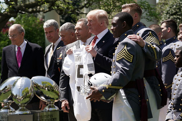 Ahmad Bradshaw President Trump Presents The Commander In Chief's Trophy To The U.S. Military Academy Football Team