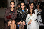 Janina Uhse, Stephanie Stumph and Nilam Farooq attend the Aigner show at Milan Fashion Week Autumn/Winter 2019/20 on February 22, 2019 in Milan, Italy.