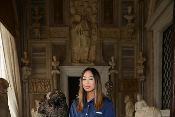 Aimee Song Damien Hirst Archaeology now exhibition at Villa Borghese, Rome. Sponsored by Prada.