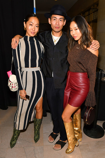 Self-Portrait Spring Summer 2020 -Front Row – New York Fashion Week [self-portrait,clothing,fashion,event,fashion design,footwear,tights,dress,fashion model,formal wear,fashion accessory,aimee song,dani song,designer han chong,front row,l-r,new york city,new york fashion week]
