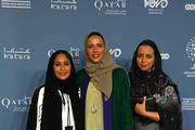 Direcot of Communication and Marketing at Doha film institute Fatma Al Ghanim and Qatari artist Ghada Al Khater and guest attend the 'It must be heaven' screening on the opening night of the annual Ajyal Youth Film Festival presented by the Doha Film Institute on November 18, 2019 in Doha, Qatar.