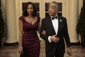 Al Sharpton Aisha McShaw Guests Arrive For White House State Dinner In Honor Of French President