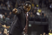 Head coach Avery Johnson of the Alabama Crimson Tide signals to his bench during the first half of the game against the Oregon Ducks at Matthew Knight Arena on December 11, 2016 in Eugene, Oregon.