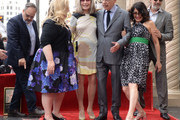 Alan J. Higgins, Sarah Baker, Susan Sullivan, Alan Arkin, Lisa Edelstein and Chuck Lorre pose as Alan Arkin is honored with a star on the Hollywood Walk of Fame on June 7, 2019 in Hollywood, California.