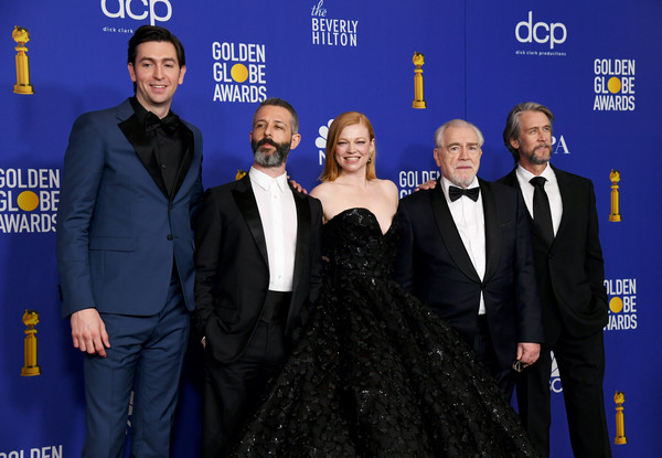 77th Annual Golden Globe Awards - Press Room [premiere,event,carpet,award,flooring,suit,nicholas braun,alan ruck,brian cox,sarah snook,jeremy strong,l-r,room,press room,the beverly hilton hotel,golden globe awards,alan ruck,brian cox,jesse armstrong,jeremy strong,sarah snook,succession,stock photography,photography,image,actor]