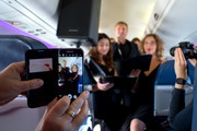 """Aled Jones launches his new Christmas album """"One Voice At Christmas"""" performing Walking In The Air and Christmas carols for passengers at 18,000ft on a FLYBE service between London and Cardiff on October 13, 2016 in the United Kingdom."""