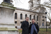 Aled Jones and Russell Watson during a fundraising drive at St Anne's Church, Limehouse on December 12, 2018 in London, England. The pair took part in some bell ringing with the local community during the event while meeting with locals to help raise money for the church.