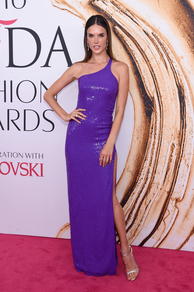 2016 CFDA Fashion Awards - Arrivals [dress,clothing,shoulder,red carpet,carpet,fashion model,gown,cocktail dress,purple,hairstyle,arrivals,alessandra ambrosio,hammerstein ballroom,new york city,cfda fashion awards]