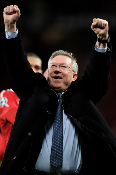 Alex Ferguson Manchester United Manager Sir Alex Ferguson celebrates at the end of the UEFA Champions League Semi Final second leg match between Manchester United and Schalke at Old Trafford on May 4, 2011 in Manchester, England.