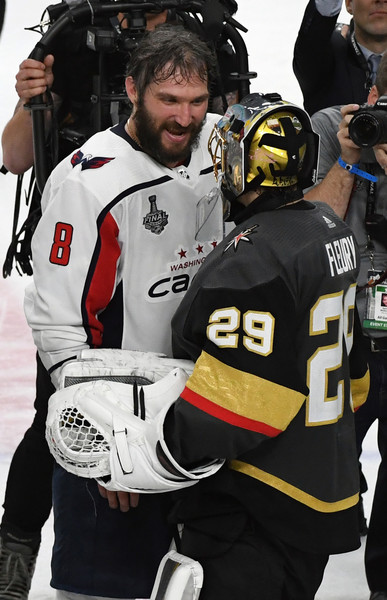 2018 NHL Stanley Cup Final - Game Five [sports gear,hockey protective equipment,helmet,ice hockey equipment,team sport,player,college ice hockey,ice hockey,stick and ball games,personal protective equipment,alex ovechkin,five,hands,nhl,washington capitals,vegas golden knights,stanley cup final,game,nhl stanley cup final,games]