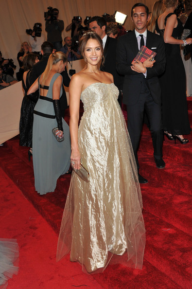 "Actress Jessica Alba attends the ""Alexander McQueen: Savage Beauty"" Costume Institute Gala at The Metropolitan Museum of Art on May 2, 2011 in New York City."
