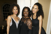 Actors Gugu Mbatha-Raw, LaTanya Richardson and Jurnee Smollett attend Alfre Woodard's Oscar's Sistahs Soiree by White Diamond Lustre, Elizabeth Taylor at the Beverly Wilshire Hotel on February 18, 2015 in Beverly Hills, California.