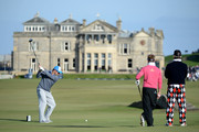 South African cricketeer Mark Boucher drives off the 18th tee during the first round of the 2014 Alfred Dunhill Links Championship at The Old Course on October 2, 2014 in St Andrews, Scotland.