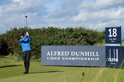 Ross Fisher of England tees off on the 18th during day one of the 2018 Alfred Dunhill Links Championship at Kingsbarns golf links on October 4, 2018 in Kingsbarns, Scotland.