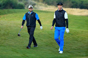 Mark Boucher (l) the South African Cricketer with Kevin Pietersen the English cricketer on the 11th hole during the third round of the 2015 Alfred Dunhill Links Championship at Kingsbarns on October 3, 2015 in Kingsbarns, Scotland.