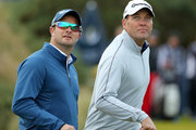 South African crickerters Mark Boucher and Jacques Kallis look on during the third round of the Alfred Dunhill Links Championship on the Golf Links course, Kingsbarns on October 8, 2016 in Kingsbarns, Scotland.
