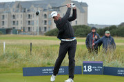 Jacques Kallis plays off the 18th tee during the second round of the Alfred Dunhill Links Championship on the Championship Course, Carnoustie on October 7, 2016 in Carnoustie, Scotland.