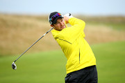 Mark Boucher plays off the 17th tee during the second round of the 2014 Alfred Dunhill Links Championship at the Championship Links at Carnoustie on October 3, 2014 in Carnoustie, Scotland.