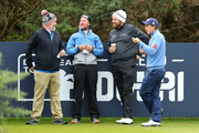 Shane Lowrey and Paul Dunne share a joke on the first tee during previews prior to the 2018 Alfred Dunhill Links Championship at Kingsbarns on October 3, 2018 in St Andrews, Scotland.
