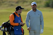 Former South African cricketer Jacques Kallis (Am), talks to his caddie on the 1st fairway during the Alfred Dunhill Links Championship previews at Kingsbarns Golf Links on October 4, 2016 in St Andrews, Scotland.