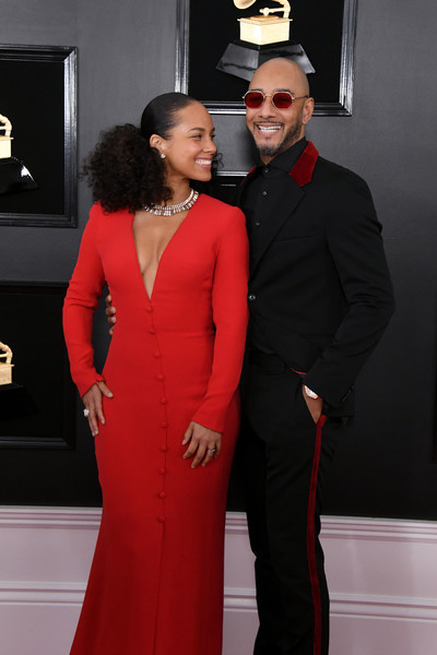 61st Annual Grammy Awards - Arrivals [red,dress,formal wear,clothing,suit,carpet,fashion,red carpet,event,gown,arrivals,alicia keys,swizz beatz,grammy awards,staples center,los angeles,california,annual grammy awards]