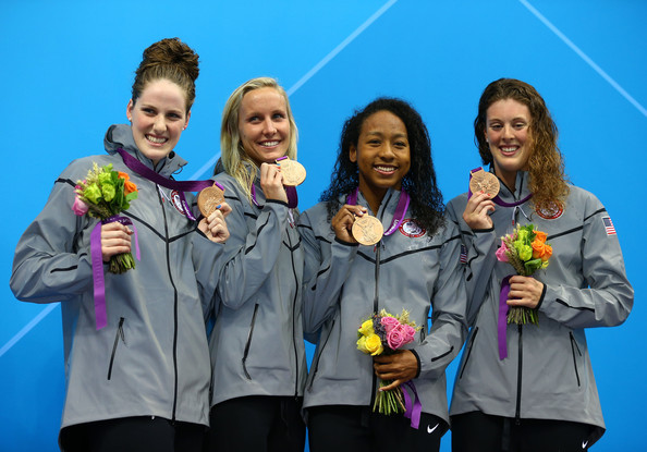 Olympics Day 1 - Swimming [medal,award,fun,youth,team,silver medal,event,recreation,outerwear,smile,missy franklin,lia neal,jessica hardy,allison schmitt,womens,l-r,medal,united states,olympics,medal cermony]