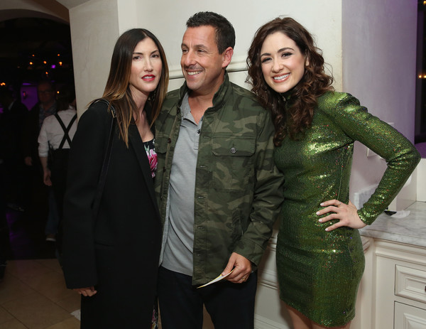 World Premiere of the Netflix Film 'The Week Of' in New York City [the week of,green,fashion,event,fashion design,outerwear,textile,suit,jacket,adam sandler,jackie sandler,allison strong,l-r,new york city,netflix,tavern on the green,world premiere,afterparty]