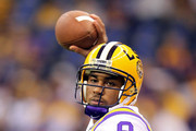 Jordan Jefferson #9 of the Louisiana State University Tigers warms up prior to playing against the Alabama Crimson Tide during the 2012 Allstate BCS National Championship Game at Mercedes-Benz Superdome on January 9, 2012 in New Orleans, Louisiana.