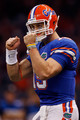 Tim Tebow #15 of the Florida Gators celebrates after a play against the Cincinnati Bearcats during the Allstate Sugar Bowl at the Louisana Superdome on January 1, 2010 in New Orleans, Louisiana.