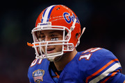 Tim Tebow #15 of the Florida Gators runs on the field after a play against the Cincinnati Bearcats during the Allstate Sugar Bowl at the Louisana Superdome on January 1, 2010 in New Orleans, Louisiana.