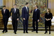 The new Minister of Health, Social Services and Equality, Alfonso Alonso (2ndR), after the oath of office with (L-R) Spanish Minister for Justice Rafael Catala, Prime Minister Mariano Rajoy, King Juan Carlos and Vice President of the Spanish government Soraya Saenz de Santa Maria at Zarzuela Palace on December 3, 2014 in Madrid, Spain.
